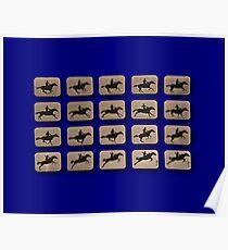 Eadweard Muybridge – 1830-1904 – Locomotion Theory – Horse and Jump – Blue Poster
