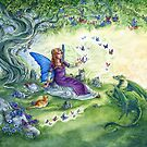Ericka's Fairy Friends - Fairy, cat and dragon by meredithdillman
