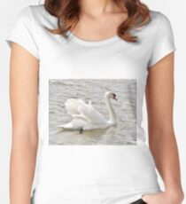 Swan On The Dart Women's Fitted Scoop T-Shirt