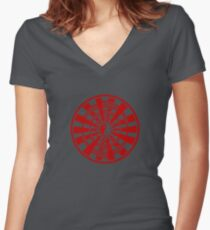 Mandala 36 Yin-Yang Colour Me Red Women's Fitted V-Neck T-Shirt