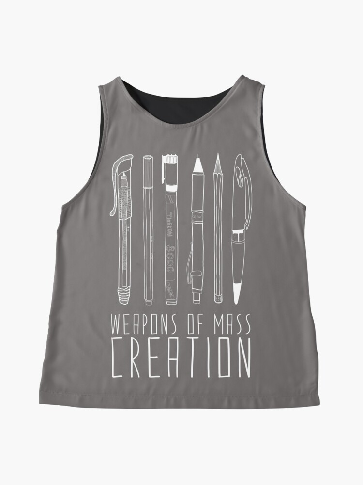 Alternate view of Weapons Of Mass Creation (on grey) Sleeveless Top