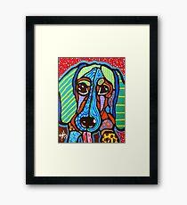 Buster Dachshund Dog Designer Design Puppy Weiner Hot Dog Colorful Fun Art Framed Print
