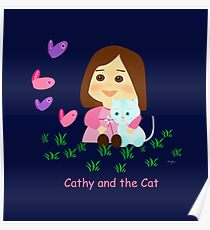 Cathy and the Cat with Butterflies Poster