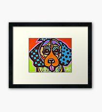 Miss Sophia Designer Dog Puppy Design Fun Colorful Beagles Basset Hound Foxhound English Yorkshire Talbot Bloodhound  Framed Print