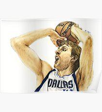 Portrait of Dirk Nowitzki Poster