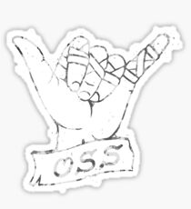 OSS Hand - White/Grey ( BJJ / Brazilian Jiu Jitsu ) Sticker
