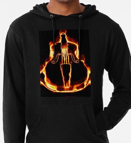 Klassische Geige in der Flamme Leichter Hoodie