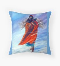 Surviving Another Day Native American Woman Mom Gathering Wood Winter Snow Snowy Female Storm Wilderness Strong Powerful Blizzard Boots Mother  Throw Pillow