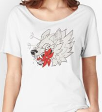 Wolf and Lily Flower Tattoo Flash Women's Relaxed Fit T-Shirt