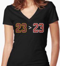 James over Jordan - 23 > 23 Women's Fitted V-Neck T-Shirt