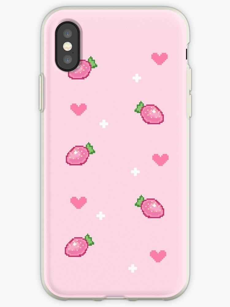 Pink Pixel Strawberries by nikki ray