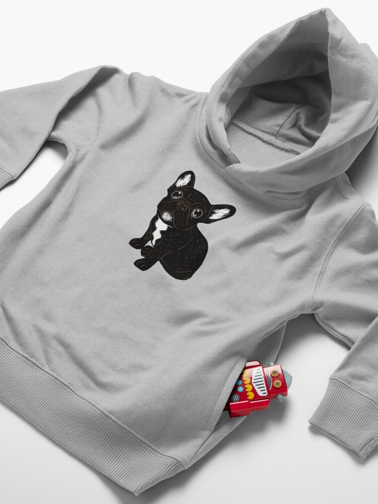 Alternate view of Cute Brindle Frenchie Puppy Toddler Pullover Hoodie