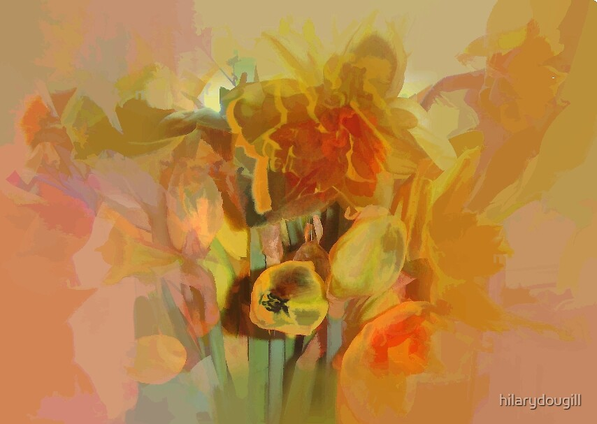 Abstract of Daffodils by hilarydougill