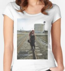 on the tracks  Women's Fitted Scoop T-Shirt
