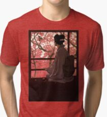 Vintage Japanese Geisha and Cherry Blossoms Tri-blend T-Shirt