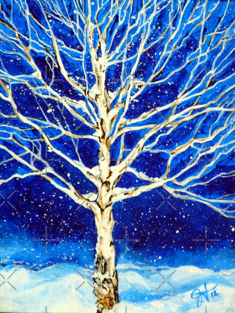 Blanket of Stillness Tree Aspen Winter Snow Rocky Mountain Snowy Snowing Night Blue White Peace Peaceful Tranquil Calm Quiet   by Jackie Carpenter