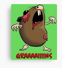 Zombie Hamster Illustration Cartoon Canvas Print