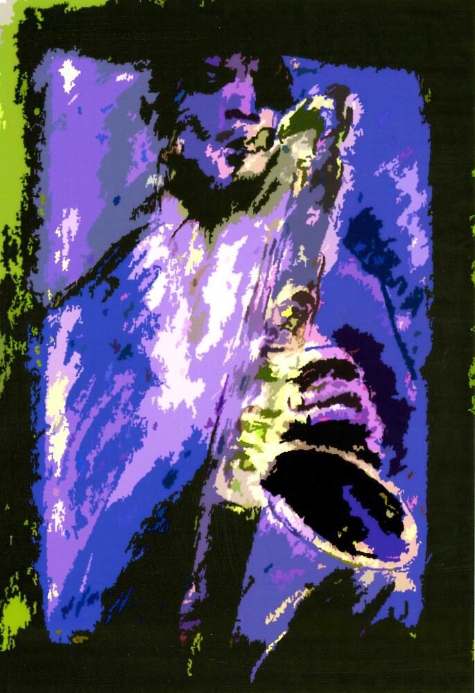 Blue Saxophonist by cliffwarner