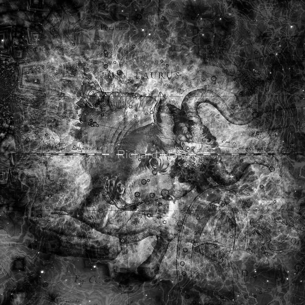 When The Stars Are Right - The Crab Nebula in Taurus (b&w version) by Richard Maier