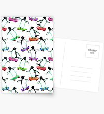 Skating Penguins - a cute hand drawn pattern Postcards