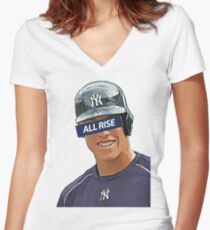 Aaron Judge - All Rise Censor Bar  Women's Fitted V-Neck T-Shirt