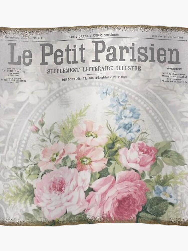Vintage French Wallpaper Shabby Chic Roses Poster