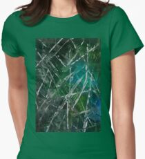 Modern Abstract Scratches - Green Womens Fitted T-Shirt