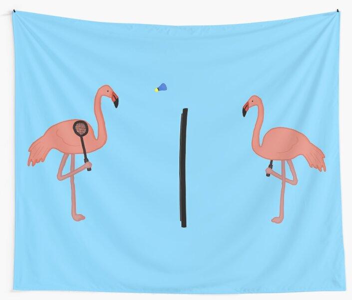 badminton flamingos by NoirPineapple