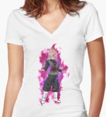 Dragon Ball Super - Black Goku SSG Rose Women's Fitted V-Neck T-Shirt