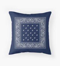 Bandana - Blue - Paisley Bandana   Throw Pillow