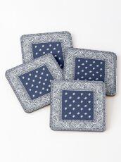 Bandana - Blue - Paisley Bandana   Coasters