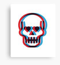 Retro 3D Skull Canvas Print