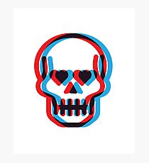 Retro 3D Skull Photographic Print
