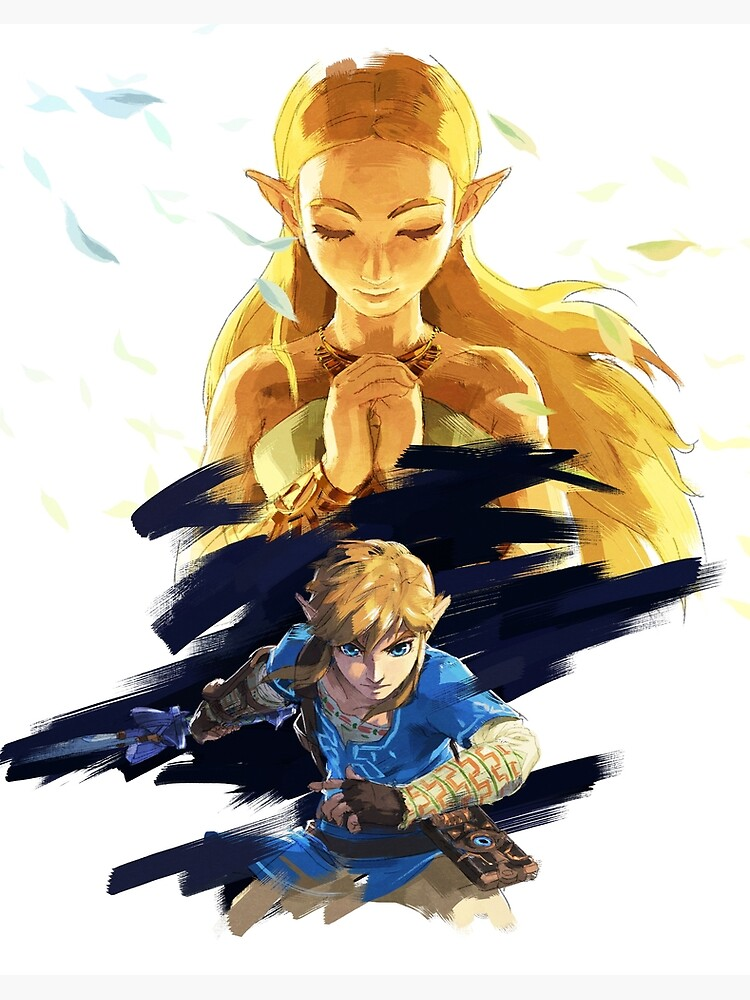 The Legend Of Zelda Breath Of The Wild Link And Zelda Art Board Print By Craig Redbubble
