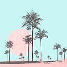 Pastel colors tropical beach palm tree sunset by artsandsoul