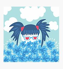 Geek Girl With Heart Shaped Eyes And Blue Flowers Photographic Print
