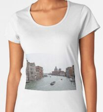 View of Canal Grande in Venice, Italy with colorful buildings and boats in the water Women's Premium T-Shirt