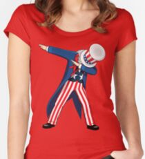 Funny Dabbing Uncle Sam 4th of July T-shirt Women's Fitted Scoop T-Shirt
