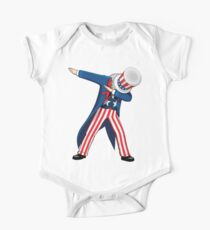 Funny Dabbing Uncle Sam 4th of July T-shirt One Piece - Short Sleeve