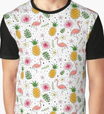 Flamingo and Pineapple Tropical doodles Graphic T-Shirt