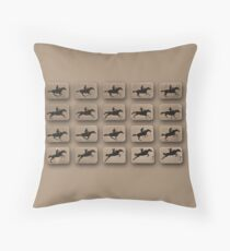 Eadweard Muybridge – 1830-1904 – Locomotion Theory – Horse and Jump – Beige Throw Pillow