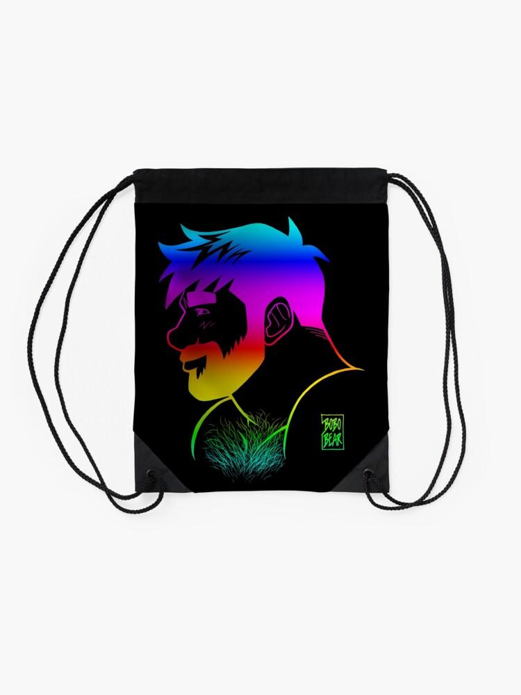 Alternate view of ADAM LIKES RAINBOWS - GAY PRIDE Drawstring Bag