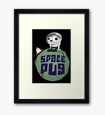 Space Pug Funny Cartoon Framed Print
