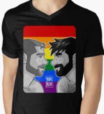 ADAM + BEN - GAYPRIDE - BLACK/WHITE Men's V-Neck T-Shirt