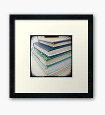 Pile of books - blue Framed Print