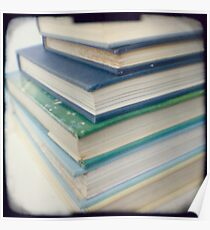 Pile of books - blue Poster