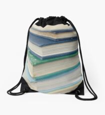 Pile of books - blue Drawstring Bag
