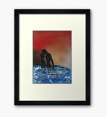 Romantic Sunset Lovers Framed Print