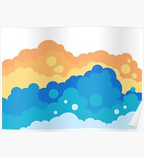 Fluffy bubbly clouds illustration Poster