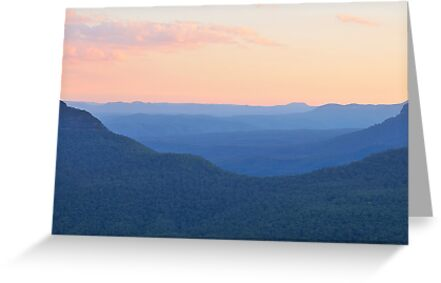 Watercolour dusk blue mountains world heritage area australia watercolour dusk blue mountains world heritage area australia by philip johnson m4hsunfo